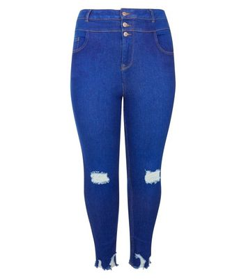 Curves Bright Blue Raw Hem Skinny Jeans New Look