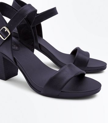 Black Block Heeled Sandals New Look