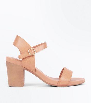 Tan Leather-Look Two Part Block Heel
