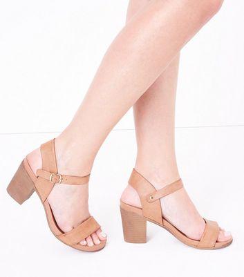 Tan Block Heel Sandals New Look