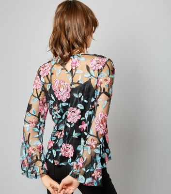 Blue Vanilla Black Mesh Floral Embroidered Top New Look