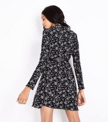Black Floral Print Jersey Swing Dress New Look