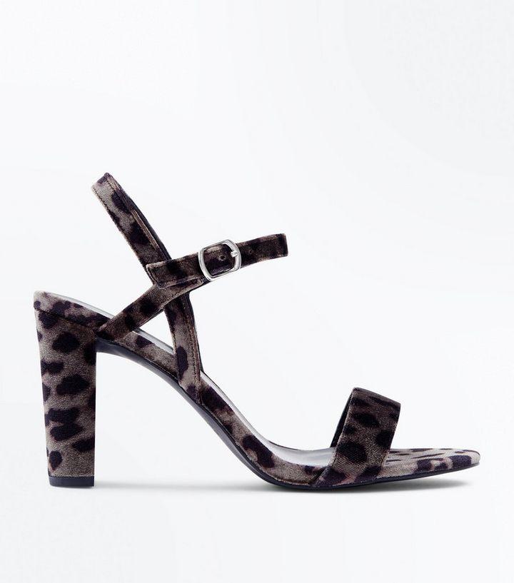 14d52658ad98 Wide Fit Grey Leopard Velvet Block Heel Sandals | New Look