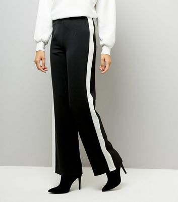 Cameo Rose Black Contrast Side Stripe Trousers New Look