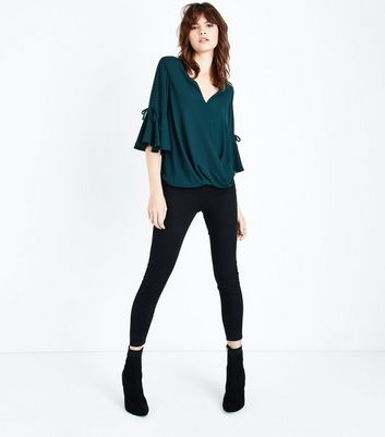 Dark Green Flared Sleeve Wrap Front Top New Look
