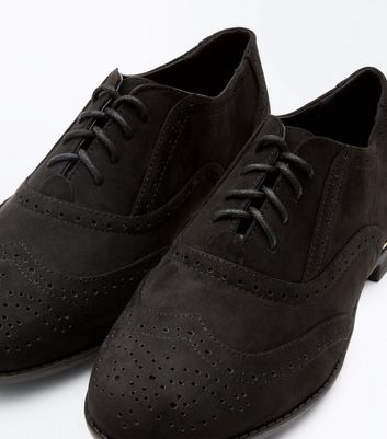 Wide Fit Black Suedette Metal Trim Brogues New Look