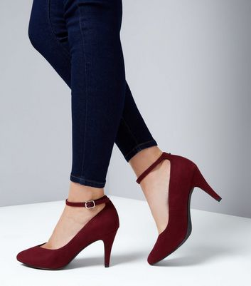 Wide Fit Burgundy Suedette Ankle Strap Court Heels New Look
