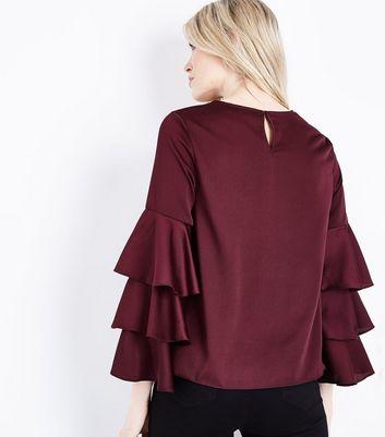 Burgundy Tiered Sleeve Top New Look