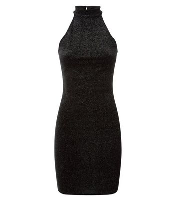 Black Glitter High Neck Bodycon Dress New Look