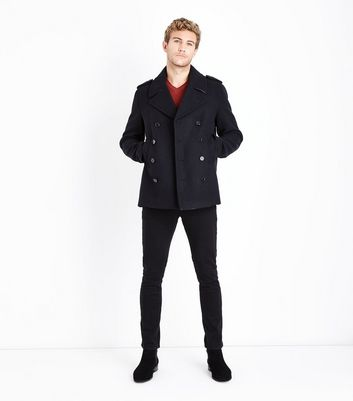 Navy Textured Military Coat New Look