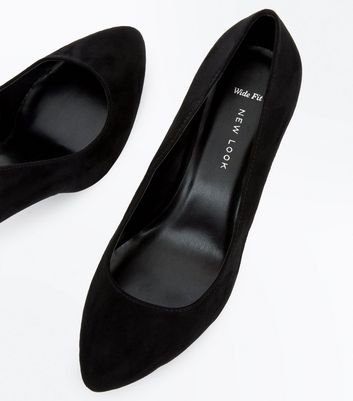 Wide Fit Black Suedette Almond Toe Court Shoes New Look