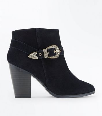 Wide Fit Black Suede Heeled Western Boots