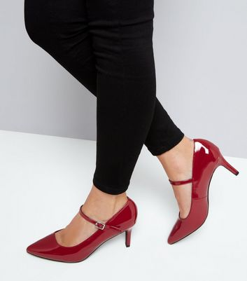 Wide Fit Red Patent Pointed Mary Jane Shoes New Look
