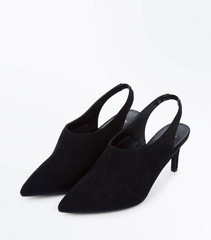 0ba9761f54b Home · Wide Fit Black Suedette Slingback Shoe Boots. ×. ×. ×. Shop the look
