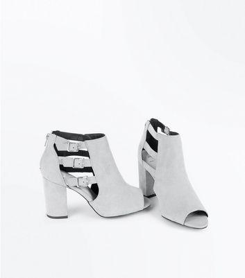 Wide Fit Grey Comfort Suedette Triple Buckle Heels New Look