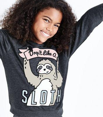 Teens Grey Drop It Like A Sloth Slogan Pyjama Set New Look