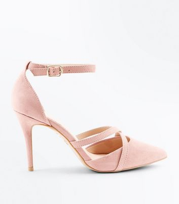 Pink Comfort Flex Suedette Cross Strap Pointed Courts New Look