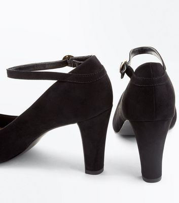 Black Comfort Flex Suedette Ankle Strap Courts New Look