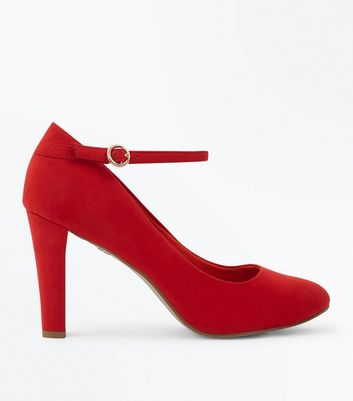 Red Comfort Flex Suedette Ankle Strap Courts New Look