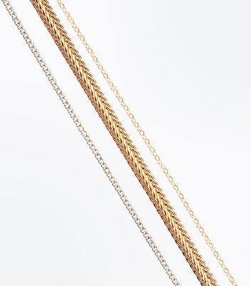 Curves 3 Pack Metallic Chain Chokers New Look