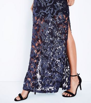 Navy Premium Sequin Maxi Dress New Look