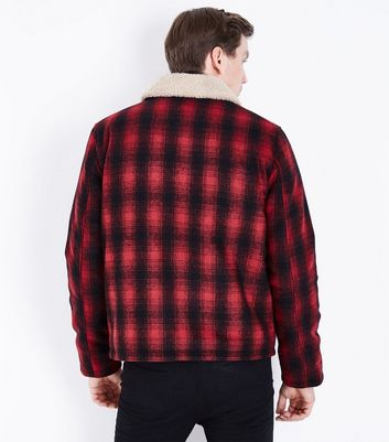 Red Check Aviator Jacket New Look