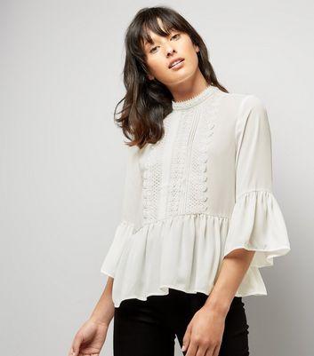 Cameo Rose Cream Crochet Trim Blouse New Look