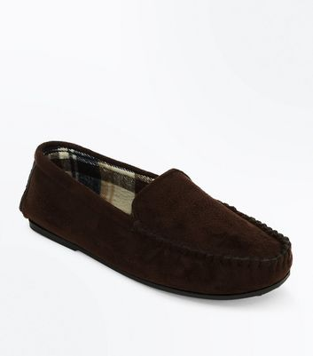 Dark Brown Moccasin Slippers New Look