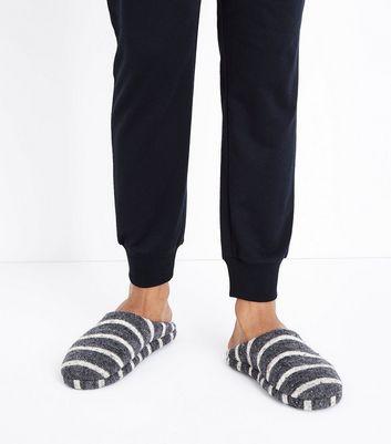 Grey Stripe Mule Slippers New Look
