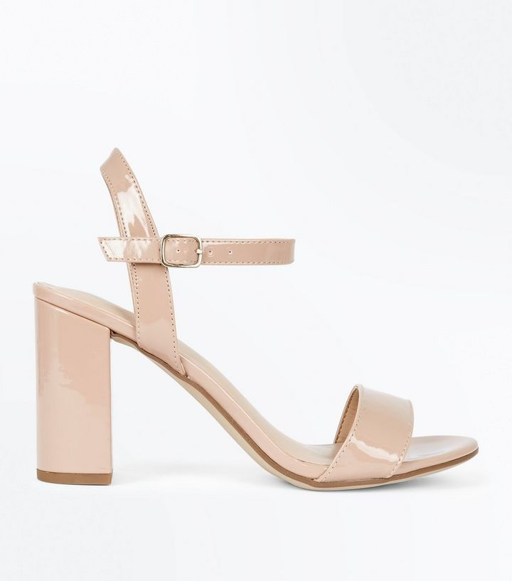 d1d7a169f0 Nude Patent Block Heel Sandals | New Look