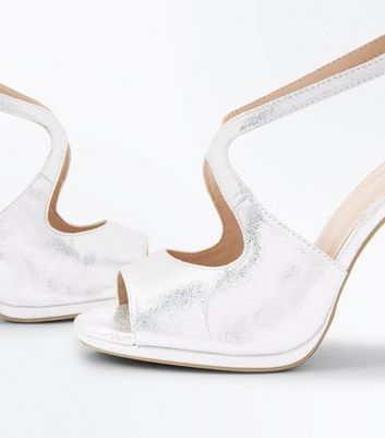 Silver Shimmer Strappy Peep Toe Sandals New Look