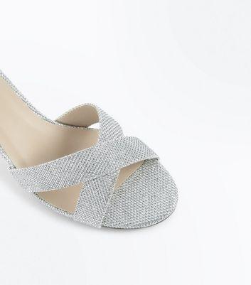 Silver Glitter Cross Strap Kitten Heels New Look