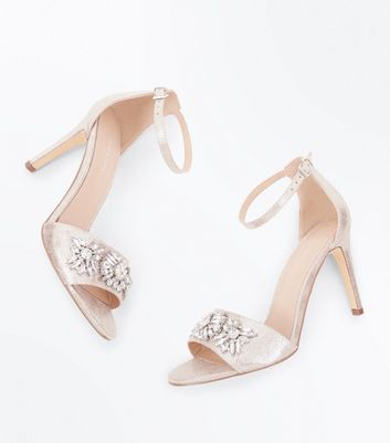 Silver Shimmer Gem Embellished Stiletto Sandals New Look