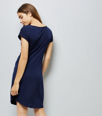 Blue Vanilla Blue Gathered Waist Dress New Look