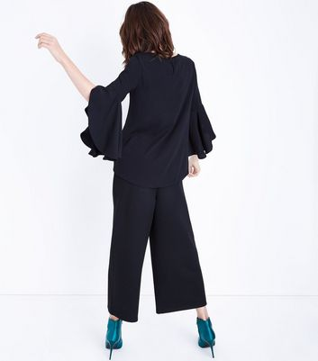 Black Split Flared Sleeve Top New Look
