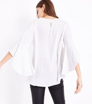 White Split Flared Sleeve Top New Look