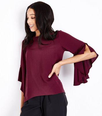 Burgundy Split Flared Sleeve Top New Look