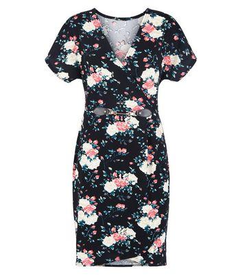 Blue Vanilla Black Floral Clasp Front Dress New Look