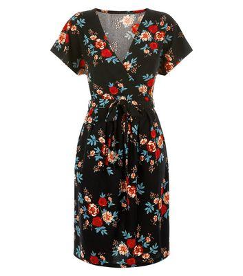 Blue Vanilla Black Floral Print Wrap Dress New Look