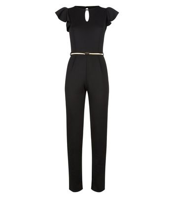 Pink Vanilla Black Frill Sleeve Jumpsuit New Look