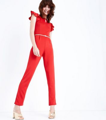Pink Vanilla Red Frill Sleeve Jumpsuit New Look