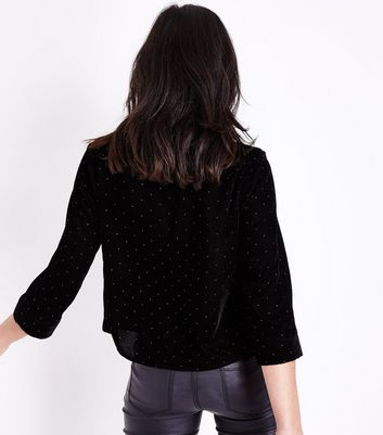 Black Glitter Spot Print Velvet Pyjama Style Shirt New Look