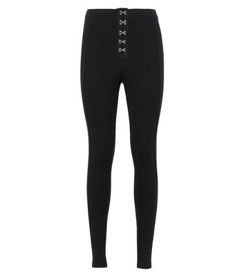 Black Hook and Eye Front Leggings New Look