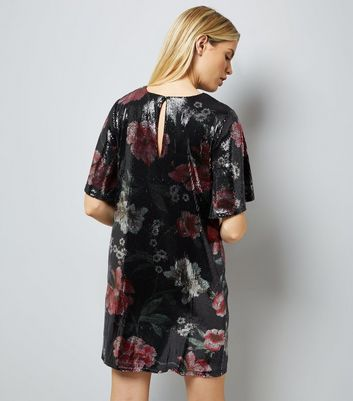 Black Floral Sequin Tunic Dress New Look