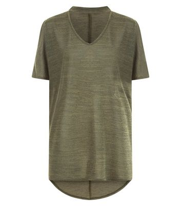 Khaki Dip Hem Choker Neck T-Shirt New Look