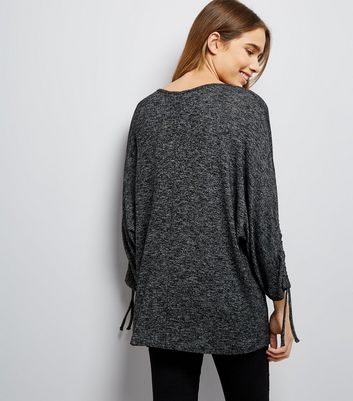 Dark Grey Fine Knit Ruched Sleeve Top New Look