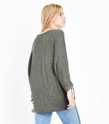 Khaki Ruche Sleeve Longline Top New Look