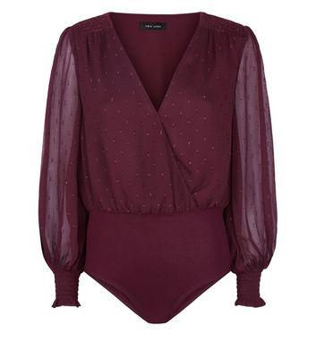 Burgundy Glitter Spot Mesh Bodysuit New Look