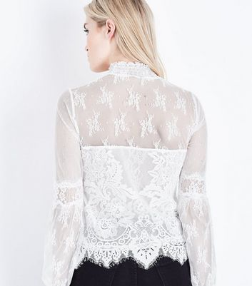 Cream Lace High Neck Balloon Sleeve Top New Look