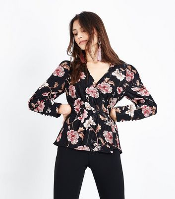 Black Floral Metallic Stripe Wrap Front Blouse New Look